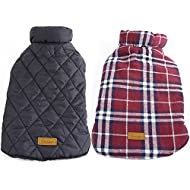 Kuoser Cozy Waterproof Windproof Reversible British Style Plaid Dog Vest Winter Coat Warm Dog Apparel for Cold Weather Dog Jacket for Small Medium Large Dogs with Furry Collar (XS - 3XL),Red M