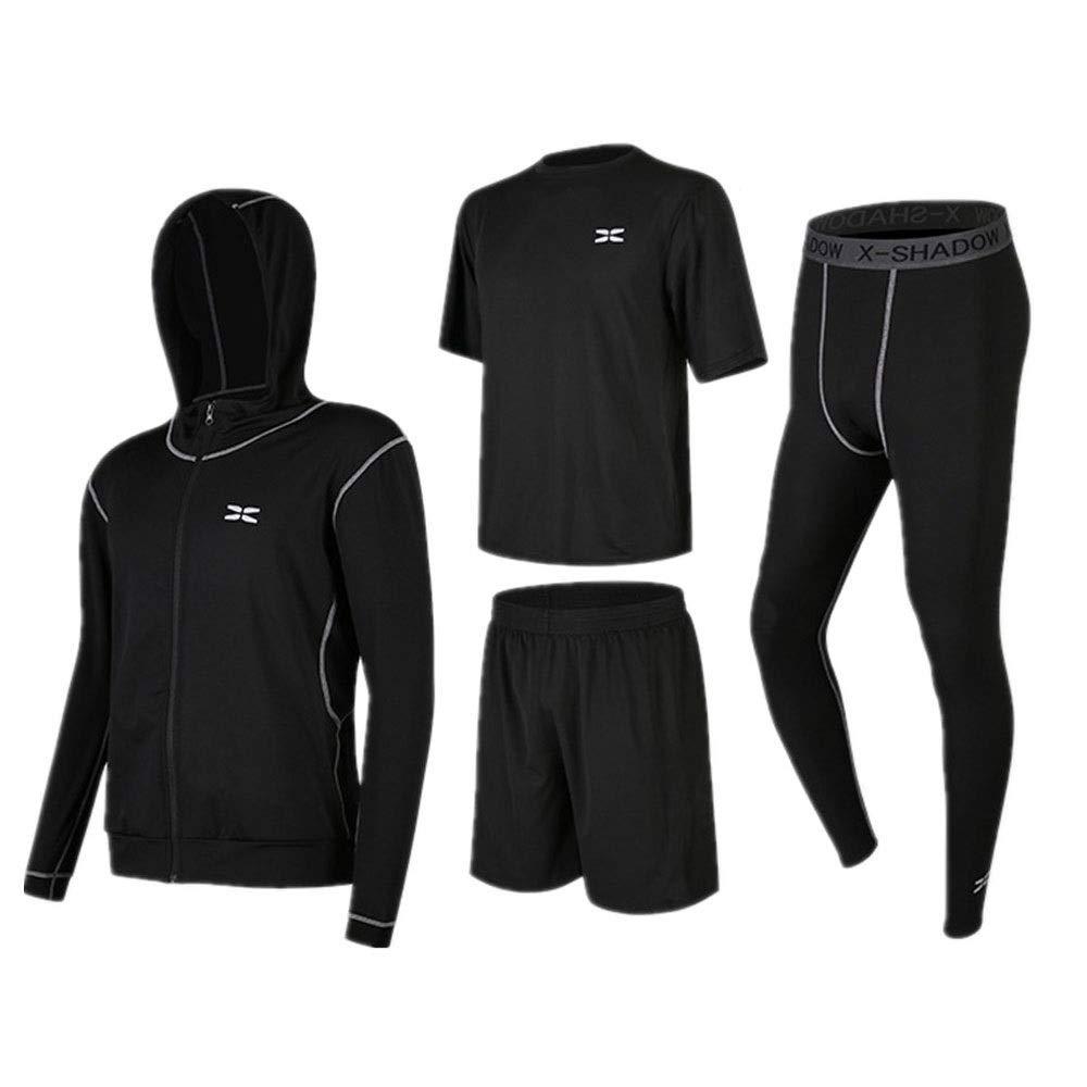 Wuxingqing Gym Wear Fitness Bekleidung Set Herren 3 Stücke Athletic Compression Sport Laufsets Mit Outwear, Kompression Enge Hosen, Kurzarm T-Shirt, Shorts (Color : Black, Size : S)