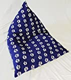 Pyramid Bean Bag Chair, By Upcountry Textiles, Floor Pillow Seating Cushion, African Shibori Indigo Blue Mudcloth, 30''x 40'', (small), 1