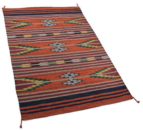 Onyx Arrow Southwest Décor Area Rug, 4 Foot x 6 Foot, Pueblo Pattern Rust/Multi