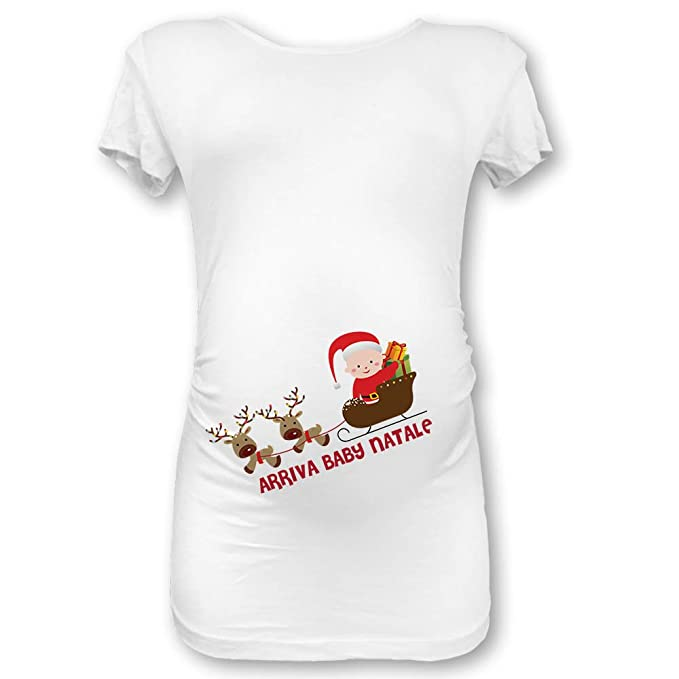Babloo T Shirt Natale Maglia Premaman Natalizia Tasca Buon Natale