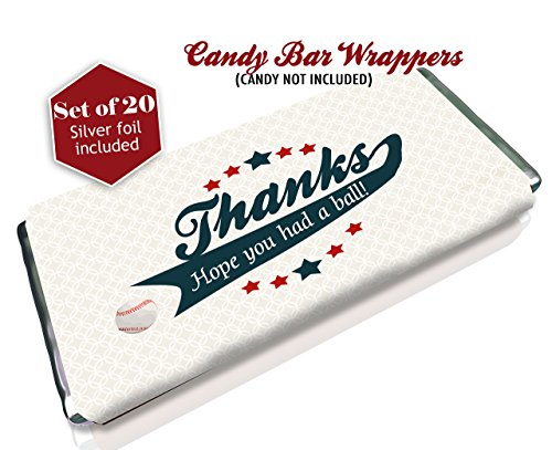 Baseball candy bar wrappers - Set of 20 - Silver foil included - Birthday favors - Baby Showers