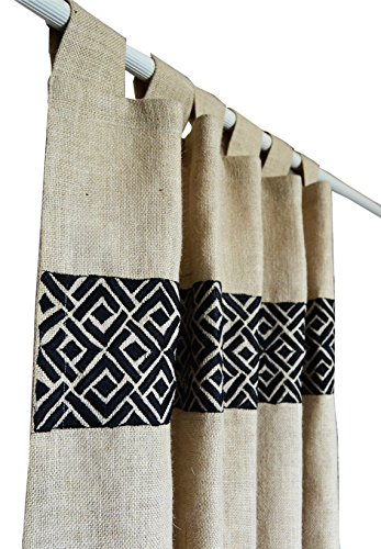 Amore Beaute Handcrafted Burlap Curtain In Ivory With Chippendale Embroidery Rod Tab Curtains Custom Window Treatment Tab Top Curtains Cottage Home Decor Housewarming Gift (46Wx63L)