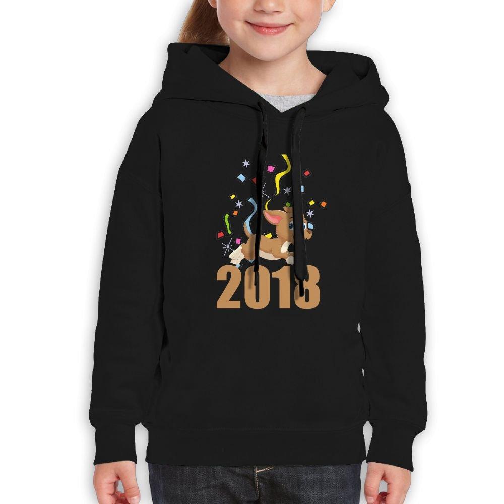 YUTaf Year Of The Dog 2018 Gift Girls Boys Teens Cotton Long Sleeve Cute Sweatshirt Hoodie Unisex