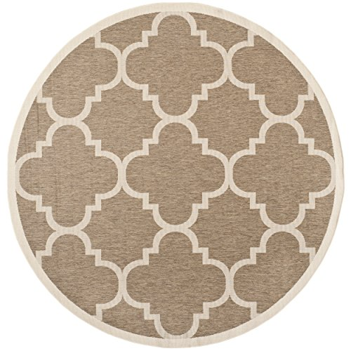 Safavieh Courtyard Collection CY6243-242 Brown Indoor/Outdoor Round Area Rug (5'3
