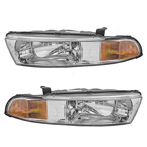 Headlight Galant Headlamps Mitsubishi (Driver and Passenger Headlights Headlamps Replacement for Mitsubishi MR439549 MR439550)