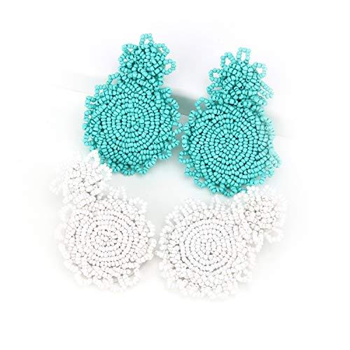 2Pc White Green Statement Round Beaded Hoop Bohemia Earrings Handmade Tassel Fringe Drop Dangle Flower Chandelier Vintage Stud Earrings Gifts for Mom,Women Girls