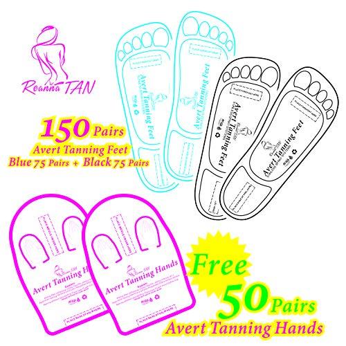 Valued packing 150+50 Pairs (Blue 75+Black 75+Hands 50) Spray Tanning Feet(Hands) Stick Pads; Avert Tanning Feet;Avert Tanning Hands
