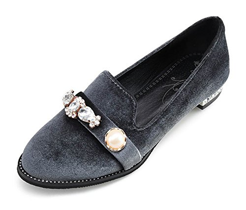 Women's Round Toe Flat Loafers Casual Shoes with Rhinestone Grey - 1