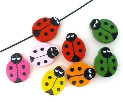 50PC Mix Color Wooden Ladybug Beads 19x15mm Beading Supplies [Office Product]