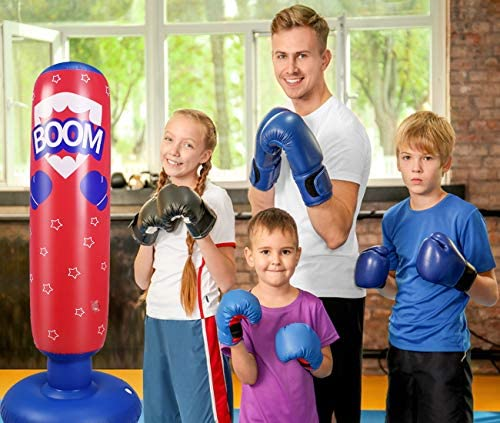 """AuGcGoGo 67"""" Inflatable Punching Bag- Standing Boxing Bag for Adults and Kids,Free Standing Boxing Toy for Kids…"""