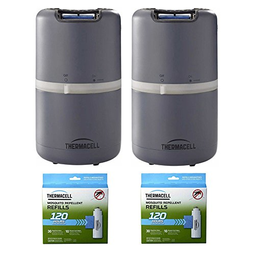 Thermacell (2) MR-D201 Halo Mosquito Repellers - Patio Shield & (2) R-10 Mega Refill Packs (Lasts 120 - Halo Ensemble