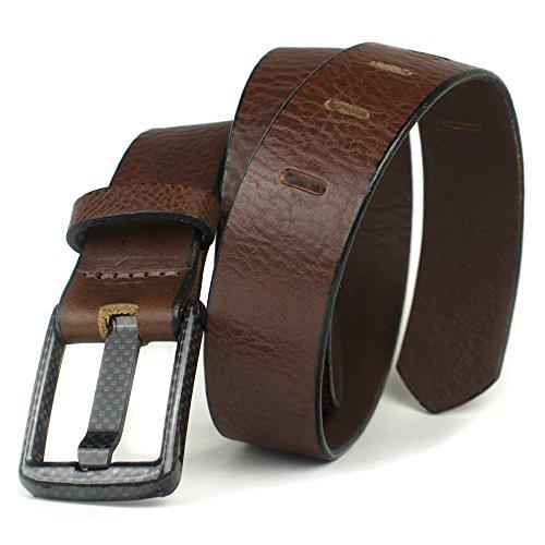 (Carbon Fiber Wide Pin Brown Belt - Nickel Smart - Full Grain Leather Beep Free Belt with Nickel Free Carbon Fiber Buckle - 38