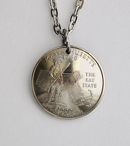 Massachusetts Domed Coin Necklace State Quarter Commemorative Pendant 2000