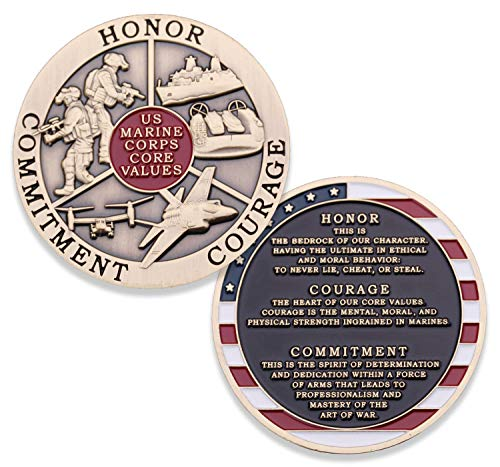 Marine Corps Core Values Challenge Coin - USMC Challenge Coin - Amazing US Marines Military Coin - Designed by Marines for Marines & Veterans! ()
