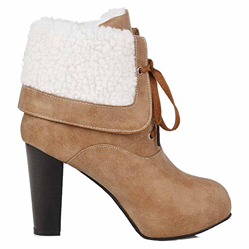 AgooLar Women's Round Closed Toe High-Heels PU Low-top Solid Boots Brown wQNNZmzlR
