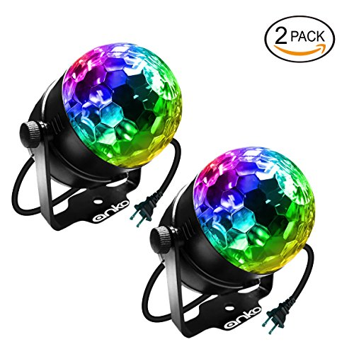 Led Dj Club (ANKO Mini LED Stage Magic Light, 7 Color Changes Sound Active RGB Mini LED Rotating Magic Ball Lights For KTV, Party, Wedding, Show, Club Pub Disco DJ And More(BLACK) (2 PACK))