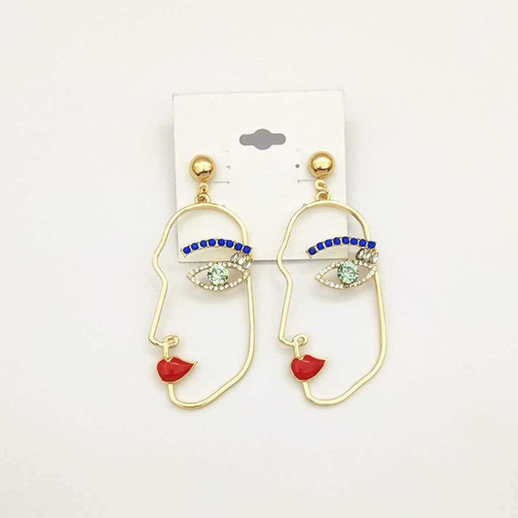 KUKALE 1Pair Minimalism Simple Creative Face Contour Shape Earrings For Women /& Girls