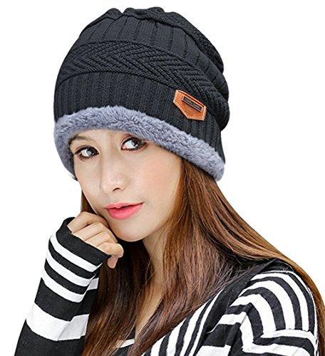 HINDAWI Womens Black Slouchy Beanie Skull Cap Winter Windproof Hat Knitted Warm Snow Ski Hats