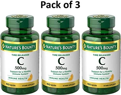 Nature's Bounty Vitamin C, 500mg, Time Release, 100 Capsules (Pack of 3)