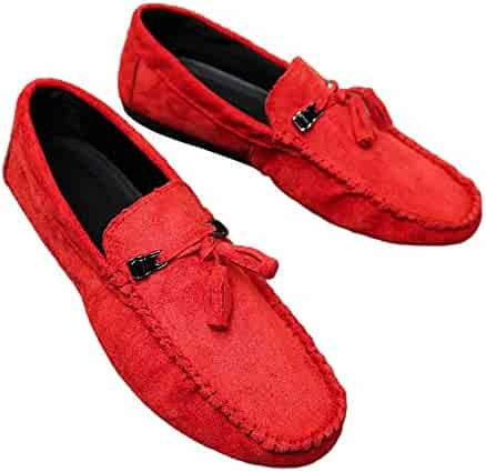 b72c290aedec1 Tassel Suede Solid Color Slip-on Driving Shoes Men Round Toe Casual Flat  Loafers