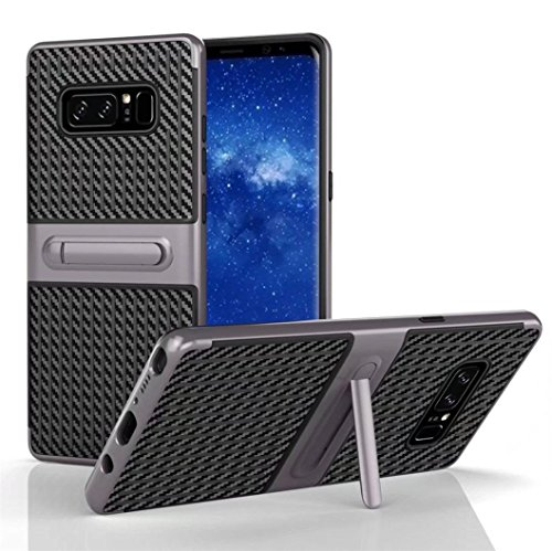 Price comparison product image For Samsung Galaxy Note 8 Case,SMYTShop Shockproof Hybrid TPU + PC Cover Case with Kickstand for Samsung Galaxy Note 8 (2017) (Dark Gray)