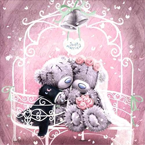 (HKKYT 5D DIY Diamond Painting Couple Teddy Bear kit Resin Rhinestone Embroidery Cross Stitch Full Drill Home Wall Decor (30x30cm))