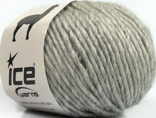(Lot of 8 Skeins Ice Yarns PERU ALPACA BULKY (25% Alpaca 50% Merino Wool) Yarn Light Grey)