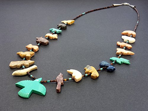 - Hand Carved Single Strand Thunderbird with Mixed Animals Multicolored Fetish Necklace