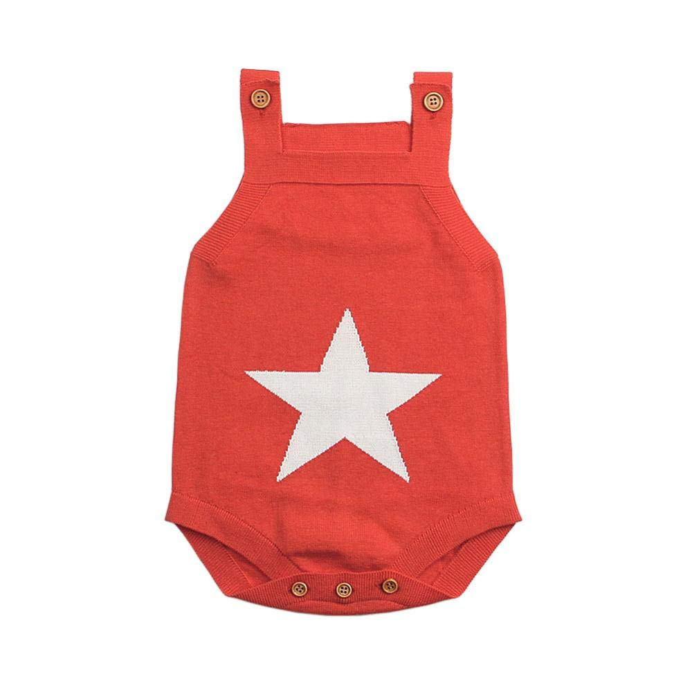 Bodysuits Baby SaranTung Summer Sleeveless Bodysuits for Boys White Star Knit Newborn Baby Girls Coveralls Grey