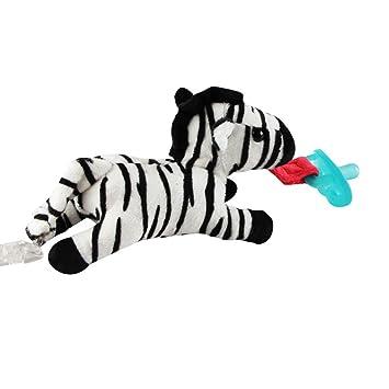 Zebra Black and Burgundy Pacifier Clip