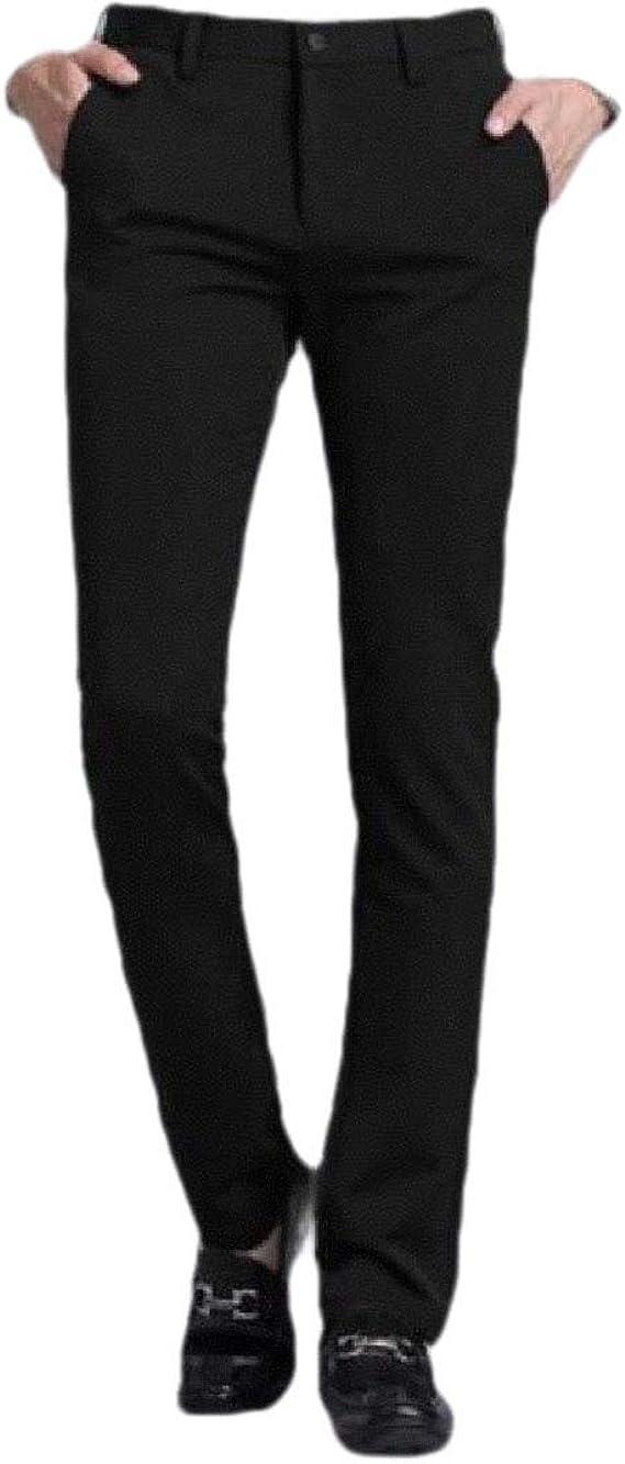 Romancly メンズベーシックコットンストレートポケットビジネスカジュアルレジャードレスパンツ