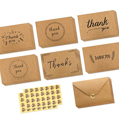 Ohuhu 36 Pack Brown Kraft Paper Thank You Cards Thank U Thanksgiving Greeting Card W/ 36 Kraft Paper Envelopes and 36 Pcs Envelope Thank You Stickers for Wedding, Graduation, Baby Shower, 4 x 6 Inches