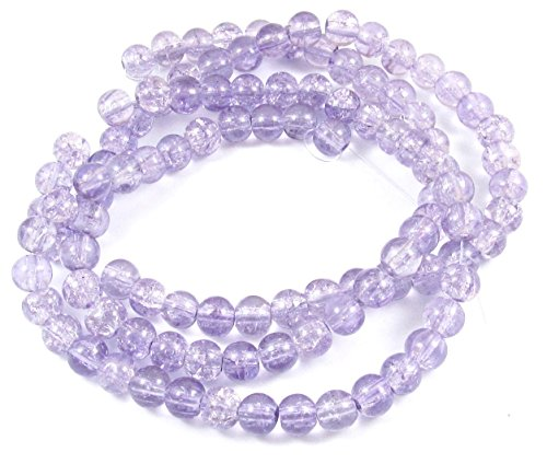 Lavender Round Beads (Round Glass Crackle Beads-LAVENDER 6mm (100))