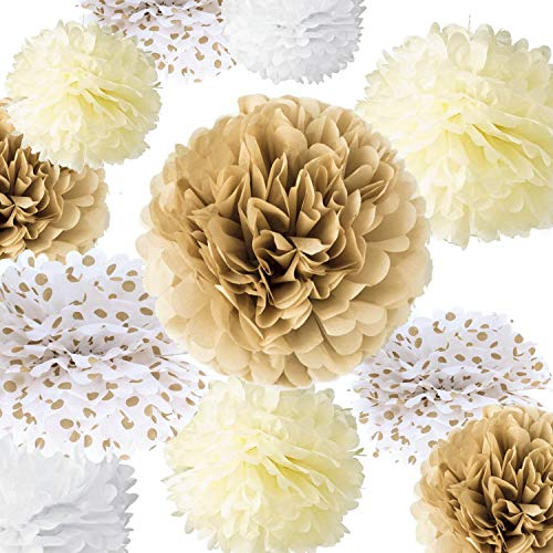 Hanging Decorations For Baby Shower (VIDAL CRAFTS 20 Pieces Tissue Paper Pom Poms Kit (14