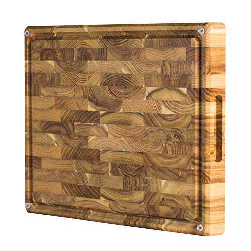 Large End Grain Teak Wood Cutting Board with Built-in Compartments, Non-slip: 17x13x1.5 with Juice Groove (Gift Box Included) by Sonder Los Angeles (Carving Grain Board)