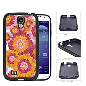 Pink And Orange Floral Painting Samsung Galaxy S4 I9500 Rubber Silicone PC Cell Phone Case