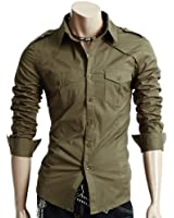 Doublju Mens Casual Two Pocket Detailed Shirts
