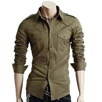 Doublju Mens Dress Shirt with Epaulet KHAKI (US-XS)
