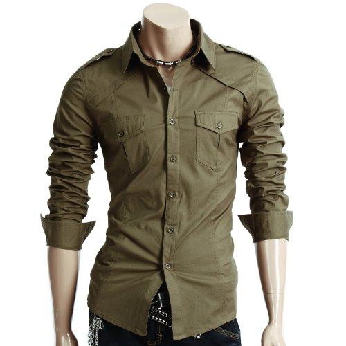 Doublju Mens Dress Shirt with Epaulet KHAKI (US-S)