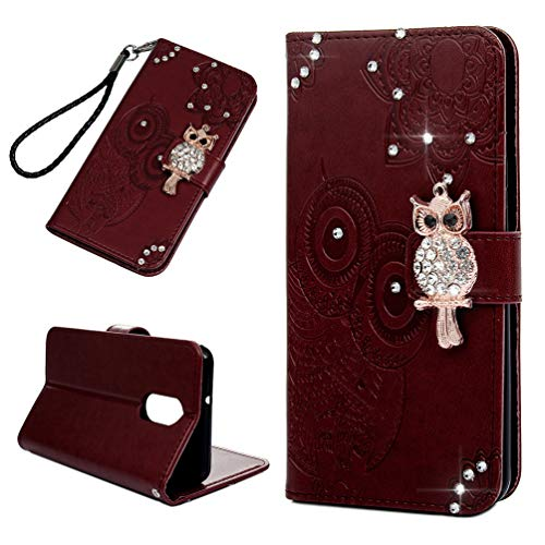 LG Stylo 4 Case, LG Q Stylus Glitter Diamonds Owls Totem Wallet Case PU Leather Magnetic Flip Cover Shock Resistant Soft TPU Slim Protective Bumper Card Slots Kickstand Lanyard for LG Stylus 4 Red