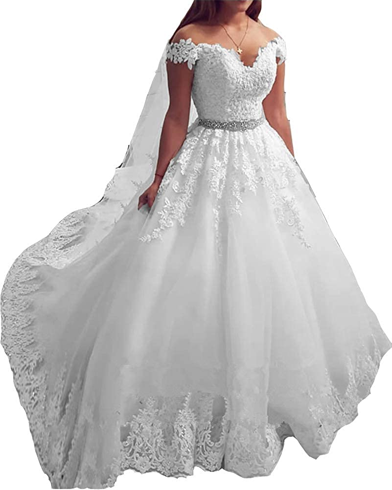Stylefun Wedding Dress for Bride 2019 Lace Pearl Ball Gown Wedding Dresses  Plus Size WD021