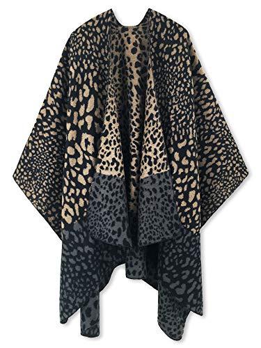 Women Poncho Shawl Cardigan Open Front Elegant Cape Wrap (Leopard 1)