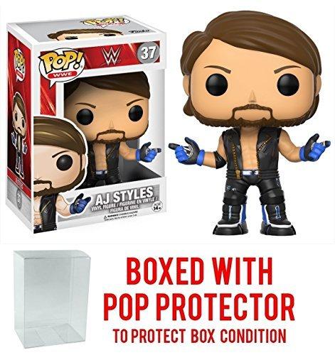 Funko Pop! WWE AJ Styles Vinyl Figure (Bundled with Pop BOX PROTECTOR CASE) by Funko