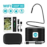 iPhone Endoscope, UMTELE 5m WiFi Semi-rigid Cable HD Borescope IP68 Waterproof 1200P Inspection Camera for Car Repair, Pipe Cleaning, Compatible with iPhone and Android Smart Phone