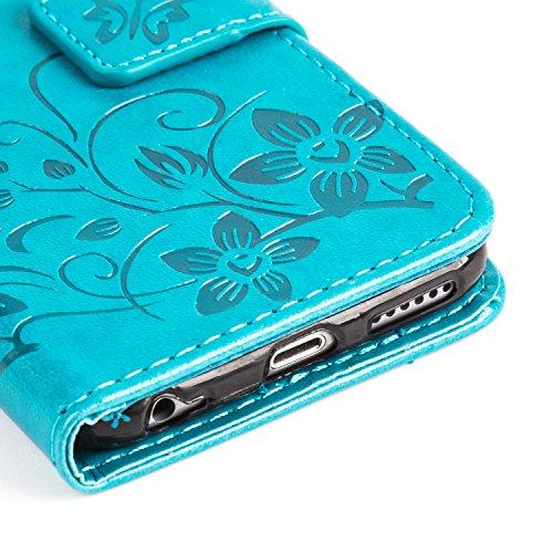 Cover Per iPhone 6 iPhone 6s Custodia ZPTONE PU Portafoglio Custodia Cover Protettiva in Pelle Libro per iPhone 6 6S Chiusura Magnetica Stand Case Sbalzato Farfalla Fiori - Blu