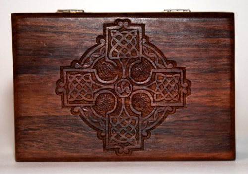 Thorness Large Celtic wooden treasure chest trinket box