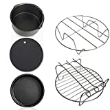 5pcs/Set Air Fryer Accessories for Baking Cooking (Cake Barrel, Pizza Pan, Metal Holder, Silicone Mat)