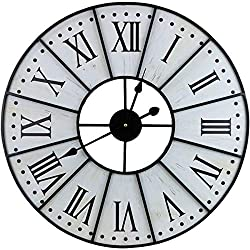 Sorbus Large Decorative Wall Clock, 24 Round Oversized Centurion Roman Numeral Hands, Vintage Distressed White Rustic Farmhouse Style, Modern Decor Ideal for Living Room, Analog Metal Clock