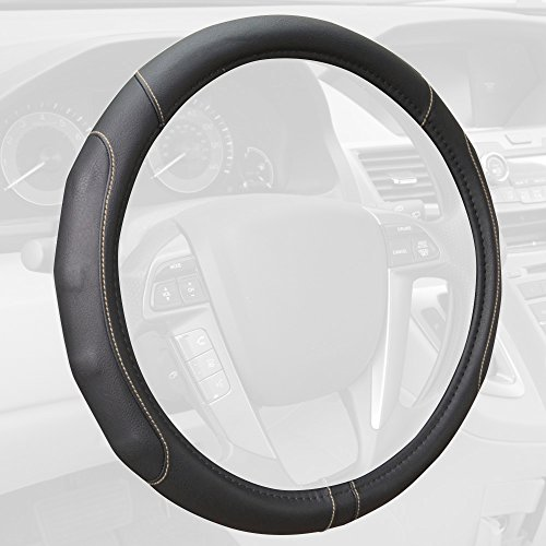 Motor Trend GripDrive Synthetic Leather Auto Car Steering Wheel Cover Black w/ Beige Accent Stitching Comfort Grip - Standard 15 inch